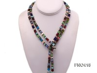 7.5mm lavender freshwater pearl and coloful manmade crystal opera necklace