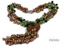 Three-strand 7x10mm Green and Coffee Freshwater Pearl, Black Agate and Crystal Necklace. 23.5 Inches
