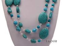 7-8mm white freshwater pearl and bule turquoise opera necklace