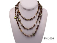 6-7mm and 3-4mmm coffee freshwater pearl and crystal opera necklace