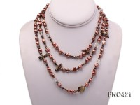 flat freshwater pearl and crystal opera necklace