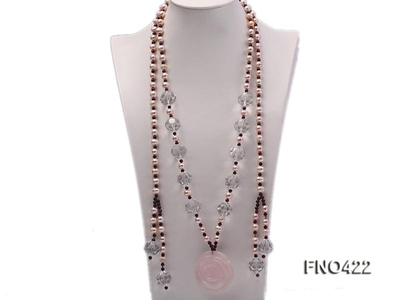 9-10mm lavender freshwater pearl,garnet and rose quartz opera necklace