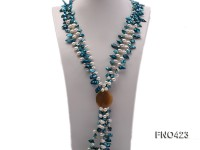 2 strand white and bule freshwater pearl and agate opera necklace