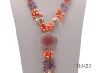 6-7mm colorful freshwater pearl,crystal and agate opera necklace