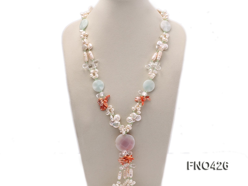 5-6mm white and coffee and pink freshwater pearl,bule stone and agate opera necklace