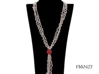 3 strand white freshwater pearl and pink coral necklace