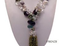 11-12mm natural white coin freshwater pearl with fluorite necklace