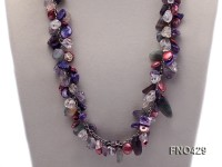 13-14mm red and bule irregular seashell and fluorite chips necklace