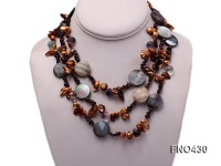 10x15mm brown irregular freshwater pearl and seashell and crystal chips necklace