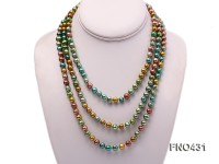 7x8mm green, champagne and coffee round freshwater pearl necklace
