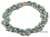 Three-strand 6x9mm Light Green, Light Blue, and White Cultured Freshwater Pearl Necklace.18inches
