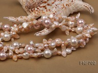 Three-strand 6x13mm Tooth-shaped Freshwater Pearl and 14mm Shell Pearl Necklace