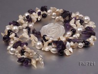 White Cultured Freshwater Pears, White Shell Beads and Round/Baroque Amethyst Necklace. 20 Inches