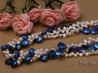 Three-strand 14mm Blue Flat Freshwater Pearl and 5x7mm White Freshwater Pearl Necklace