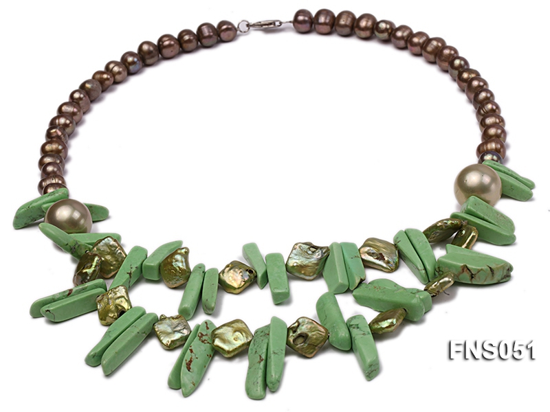 8x9mm champagne freshwater pearl with coin-shaped pearl and turquoise single strand necklace