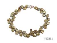 Classic 12x14mm Yellowish-green Irregular Freshwater Pearl Necklace