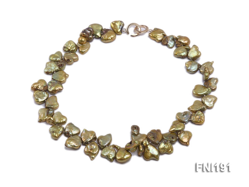 Classic 12x14mm Yellowish-green Irregular Freshwater Pearl Necklace