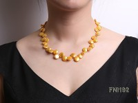 Classic 10-12mm Golden Button Freshwater Pearl Necklace