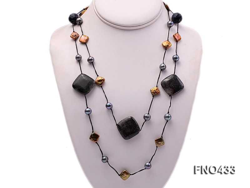 black freshwater pearl,seashell and agate opera necklace