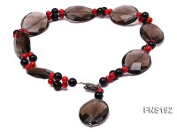 30*40mm oval carved smoky quartz with natural black agate and red coral necklace