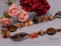 Natural Biwa-Shaped Freshwater Pearl with Cirtine and Tiger-eye Stone Necklace