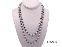 6-7mm white and black round freshwater pearl necklace