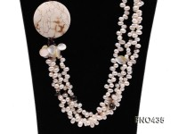 white freshwater pearl,seashell, somky quartz and white turquoise necklace