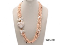 3 strand pink freshwater pearl,seashell,somky quartz and white turquoise necklace