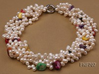 Multi-strand 6x7mm White Freshwater Pearl Necklace Dotted with Colorful Shell Beads