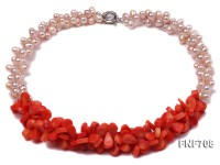 Two-strand 6x8mm Light-pink Freshwater Pearl and Red Melon-seed-shaped Coral Necklace