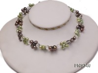 7*8mm light green and champagne freshwater pearl with natural white crystal necklace