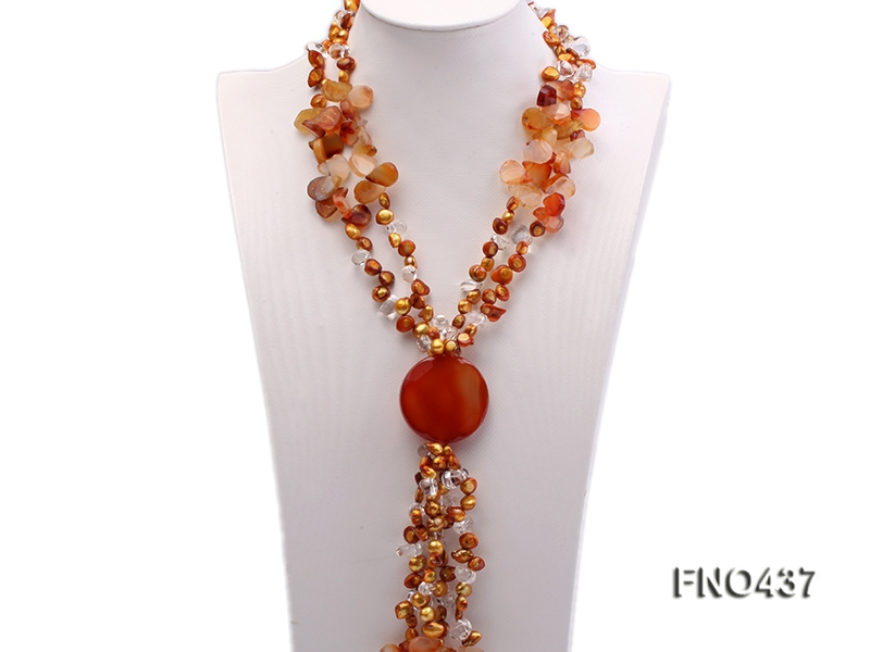 2 strand red agate,yellow freshwater pearl and white crystal necklace