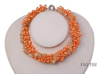 Three-strand 5x7mm Orange Cultured Freshwater Pearl and Citrine Pieces Necklace. 17inches