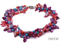 Three-strand 7x13mm Tooth-shaped Freshwater Pearl and 6mm Coral Bead Necklace