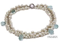 8-9mm Light-blue off-round Freshwater Pearl Necklace with Blue Crystal Beads
