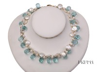 Two-strand White Freshwater Pearl, Light-blue Crystal and Golden Metal Bead Necklace