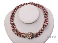 Three-strand Purple Cultured Freshwater Pearl and Purple Tourmaline Piece Necklace