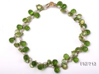Two-strand 12-13mm Button Pearl, 6mm White Rice-shaped Pearl and Green Crystal Beads Necklace