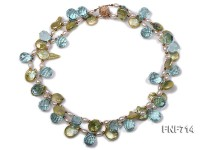 Two-strand 13-14mm Freshwater Pearl, Light-blue drop-shaped Crystal and Metal Beads Necklace