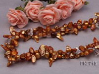 Two-strand 7x17mm Brown Tooth-shaped Cultured Freshwater Pearl and White Crystal Necklace