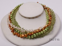 Multi-strand Cultured Freshwater Pearl and Green Crystal Pieces Necklace