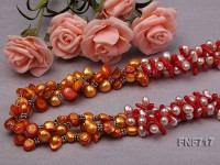 Three-strand 7x9mm Freshwater Pearl, 3x11mm Red Coral and 8x9mm Tooth-shaped Pearl Necklace