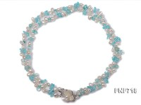 Two-strand White Cultured Freshwater Pearl and Light-blue Baroque Crystal Necklace