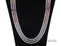 3 strand white,pink and lavender freshwater pearl necklace
