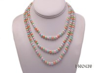 6-7mm pink,bule,orange and green off round freshwater pearl necklace