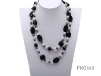 white and black freshwater pearl and black agate necklace