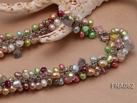 7-8mm Multi-color off-round Freshwater Pearl Necklace with Drop-shaped Crystal Beads