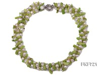 Three-strand 5-6mm White Freshwater Pearl and 6x11mm Grass-green Baroque Turquoise Chips Necklace