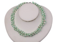 Three-strand 5-6mm White Freshwater Pearl and 6-10mm Green Baroque Turquoise Pieces Necklace