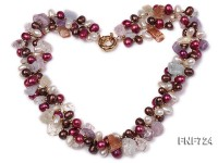 3 strands white and pink freshwater pearl with crystal necklace